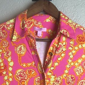Lilly Pulitzer Queen Bee Citrus Blouse S